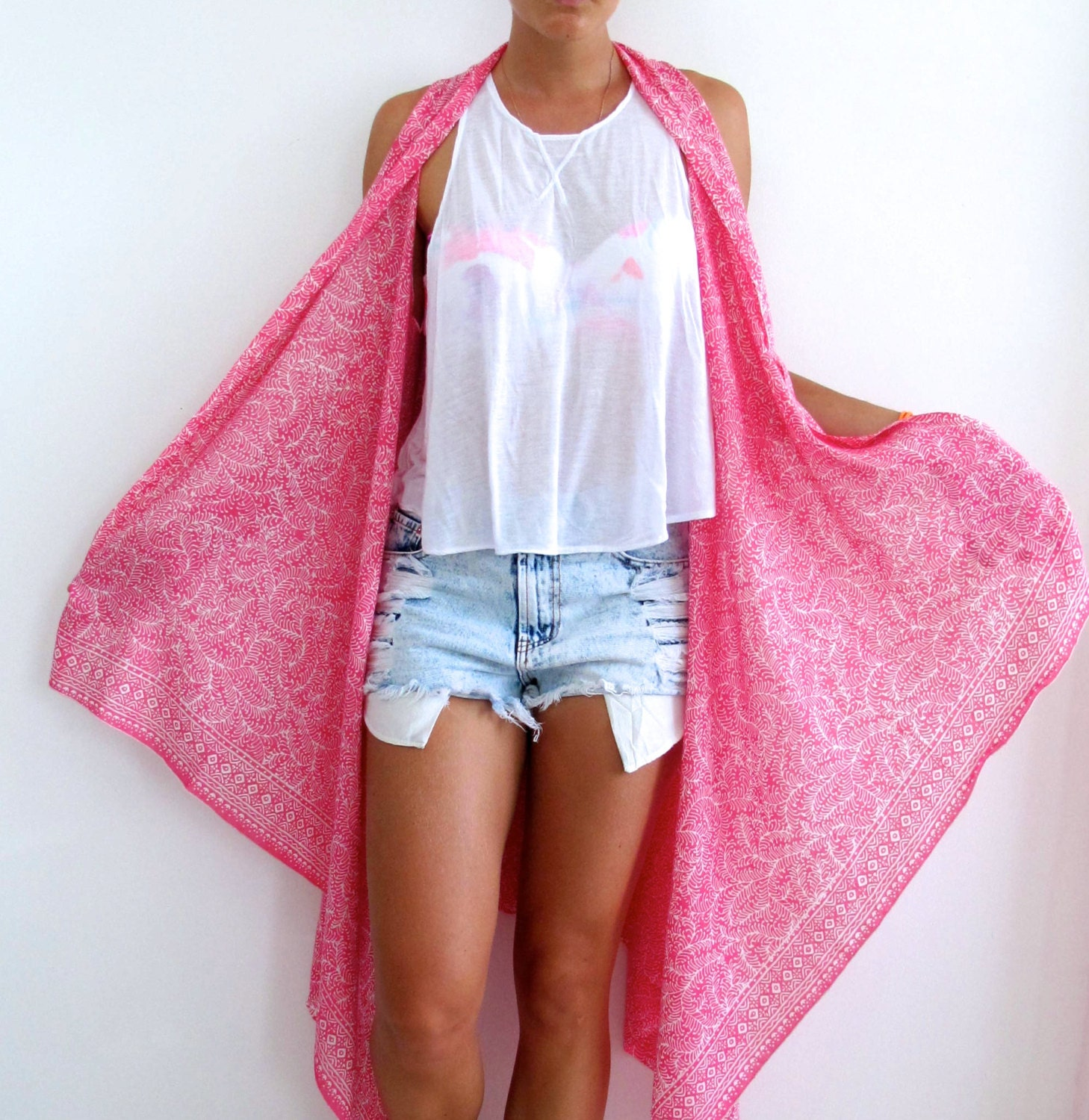 Hot Pink Fern Print Kimono Pink Beach Dress or Sarong Long