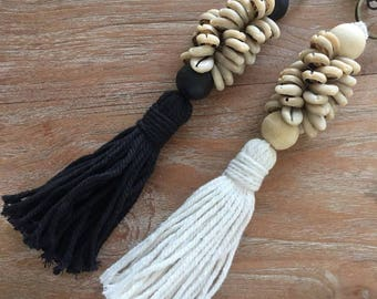 OKA Keychain with Cotton Yarn Tassels, Cowrie Shells & Wooden Painted Beads - Tassel Keychain for your bag, purse, keys