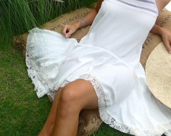 White Gypsy Dress with Lace Trim - Ladies Dress with Frill Drop Waist, Asymmetrical Hem