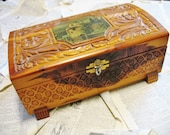Vintage 1930s Embossed Wood Decoupaged Cedar Wood Trinket Jewelry Box