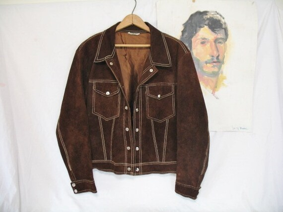 Mens 1970s Made In Mexico Western Southwest Trucker Style Chocolate  Brown Suede Silver Tone Metal Snaps Flap Chest Pockets Jacket 42 by Etsy