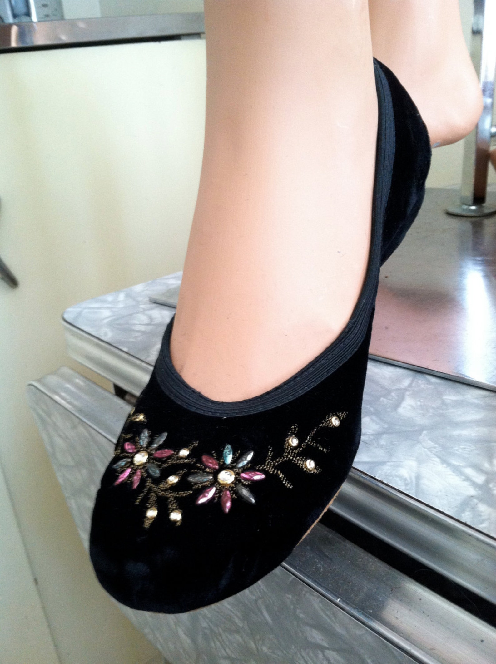vintage black velvet 1950s rockin' lil jiving ballet flats w/ rhinestones & colored studs- designer 50s velour swing shoes s