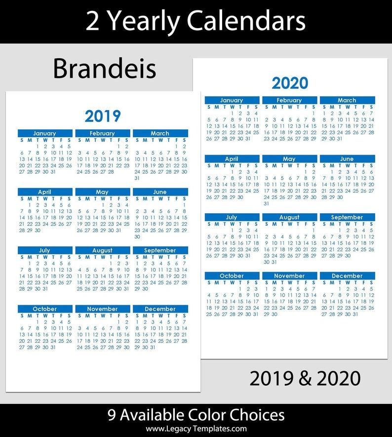 Brandeis Calendar 2020 2019 & 2020 Brandeis Blue Yearly Calendars jr size 5.5 | Etsy