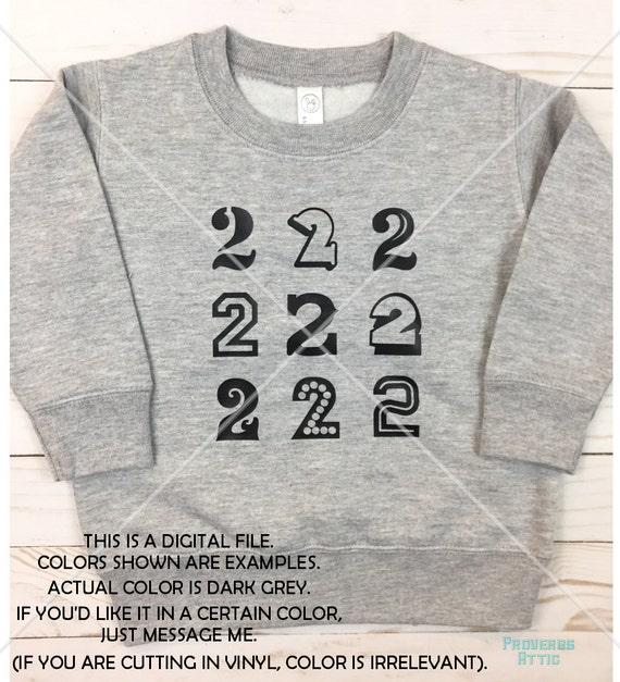 NUMBER 2 2nd BIRTHDAY File Decal T Shirt Screenprint Raglan