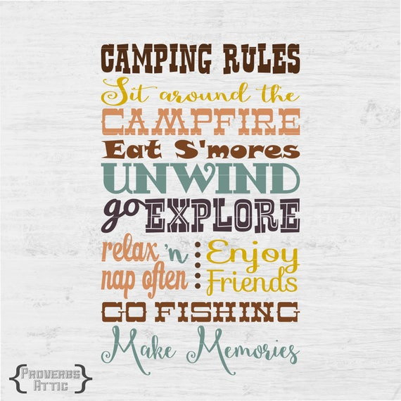 Camping Rules Campground Camp Outside Sign Vinyl Art Decal Etsy