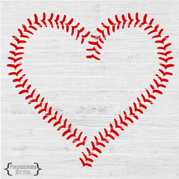 Baseball Heart Stitches Sports File For T Shirt Iron On Etsy