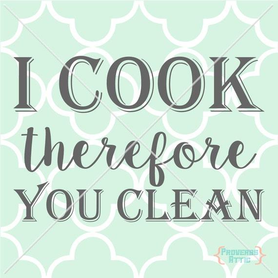 Cocinar Por Lo Tanto Usted Limpia Cocina Comedor Etiqueta De Etsy