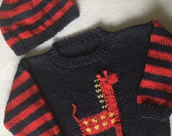 Toddlers Giraffe Pullover Sweater & Matching Hat, Hand Knit, 100% Cotton