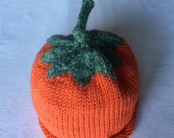 Baby Pumpkin Hat, Hand Knit