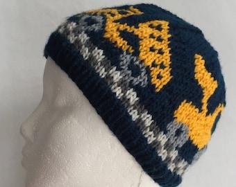Front End Loader & Dump Trucks, Hand Knit Winter Hat Beanie