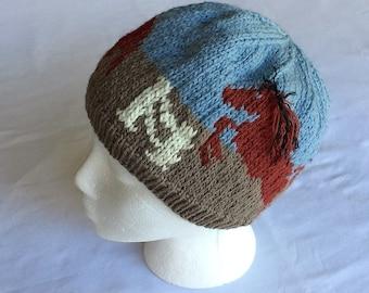 Three Horses Hat - Trot, Jump, Run Original Design Hand Knit