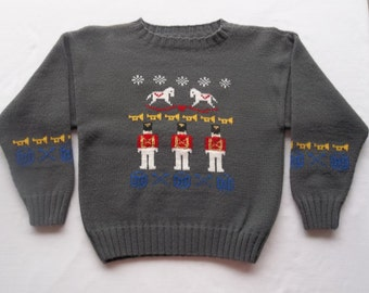 Child's Holiday Themed Sweater, Custom Design, Handmade, One of a Kind