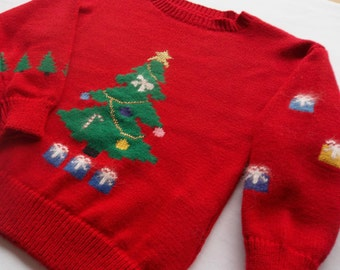 Musical Christmas Tree  &  Presents Sweater, Custom Design, Handmade, One of a Kind