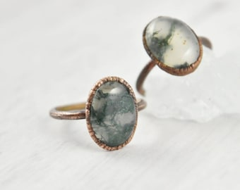 Gemstone Cabochon Stone Simple Carved EPJ-RC20CAG13-13 S650R Faceted Green Agate Large Stone Ring Size 6.5