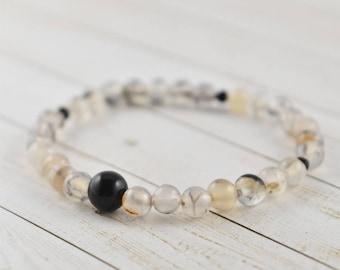 Black Rutilated Quartz Bracelet, Black Rutile Bracelet, Rutilated Quartz Jewelry, Small Bead Bracelet, Golden Rutilated Quartz Bracelet
