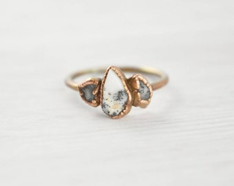 Dendritic Opal Ring, Raw Opal Ring, Dendrite Opal Ring, Rough Opal Ring, Three Stone Opal Ring, Crystal Promise Ring, Small Opal Ring