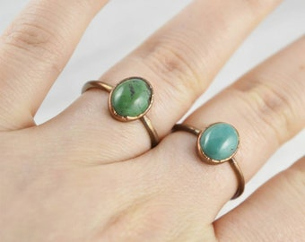 Green Turquoise Ring, Green Copper Turquoise Ring, Small Turquoise Ring, Green Turquoise Jewelry, Chinese Turquoise Ring, Vintage Style Ring