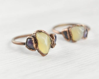 Yellow Opal Ring, Raw Opal Ring, Stone Ring, 3 Stone Ring, Yellow Opal Jewelry, Rough Cut Opal Ring, Copper Opal Ring, Yellow Crystal Ring