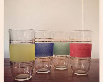 Set of four retro drinking glasses