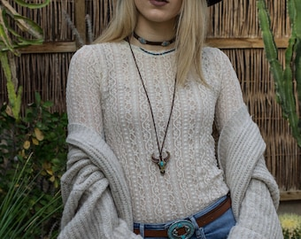 Buffalo head necklace with suede link bohemian style handmade