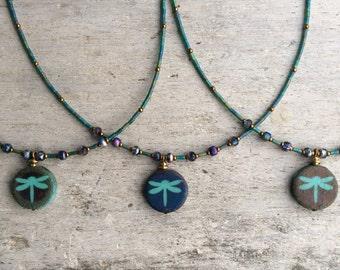 Dragonfly necklace,Dragonfly short necklace,Czech Glass necklace,Nature theme necklace,Boho dragonfly necklace,Turquoise dragonfly necklace.