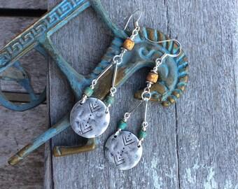 Boho earrings,Boho disc earrings,Hippy earrings,Bohemina earrings,Czech glass earrings,Silver dangle earrings,Tribal earrings,Arrow Charms.