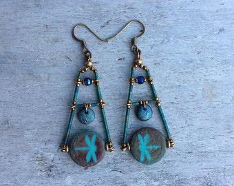 Dragonfly Statement earrings,Dragonfly earrings,Czech Glass earrings,Nature theme earrings,Boho dragonfly earrings,Turquoise dragonflies