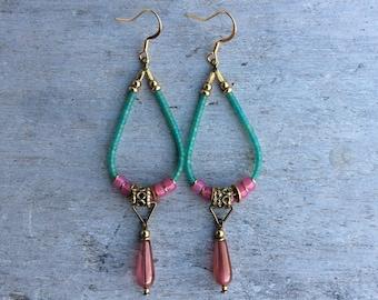 Boho earrings,Boho Chic earrings,Enthic earrings,Tribal earrings,Bohemian earrings,Czech earrings,Pink/Turquoise earrings,Womens Jewelry.
