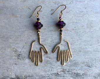 Boho earrings,Fatima earrings,Hamas hand earrings,Statement earrings,Czech glass earrings,Enthic earrings,Brass earrings,Womens earrings.
