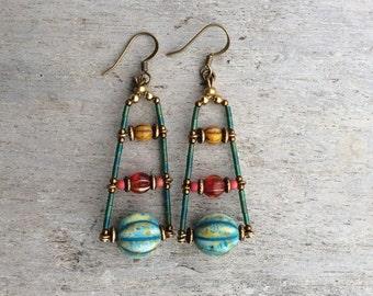 Boho earrings,Boho Chic earrings,Handmade earrings,Fashion earrings,Bohemian earrings,Czech earrings,Turquoise/red/yellow earrings,Womens.