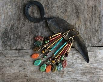 Boho leaf earrings,Boho earrings,Hippy earrings,Womens boho earrings,Earthy,Tribal earrings,Bohemian earrings,Leaf earrings,Czech jewelry.