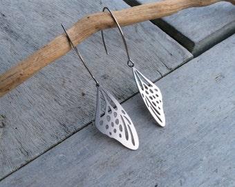 Butterfly wings earrings,Women earrings,Laser Cut earrings,Stainless steel earrings,Long hook earrings,Bohemian,Statement earrings,Butterfly