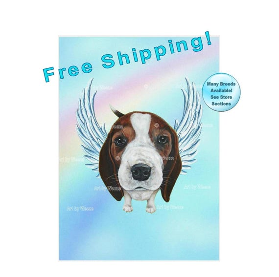 Beagle Free Shipping! Beagle Angel Beagle Picture Pet Memorial Beagle With Wings Dog With Angel Wings Dog Angel Beagle Art
