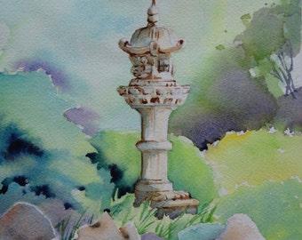 "Original watercolour painting ""Himeji Gardens, Adelaide, SA"""