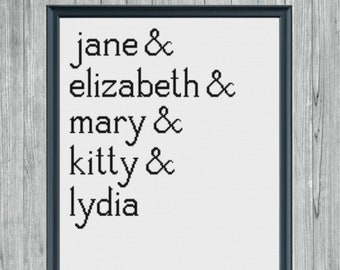 The Bennet Sisters Cross Stitch Pattern -- Digital PDF