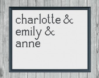 The Bronte Sisters Cross Stitch Pattern -- Digital PDF