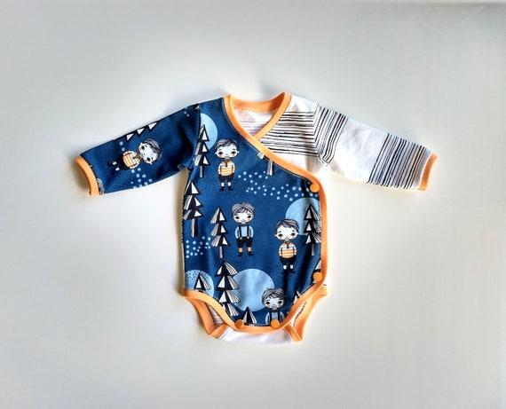 Newborn Baby Boy or Girl Kimono Bodysuit  Side-Snap Romper Handmade Long Sleeve 1M Moon Astronaut