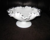 FENTON WHITE SILVERCREST Compote Bowl Footed Dish Ruffled Top Edge In Clear Glass 4 quot High 8 quot Across Vintage Milk White Bowl