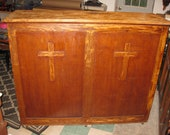 LOCAL PICK UP Antique Church Cabinet 62 quot Wide 51 quot High And 19 quot Deep Bookcase Religious Cabinet With Three Shelves Crosses On Front