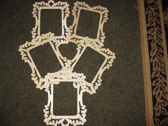 Laser Cut Wood Frame Mat Art Embellishment 4 34 6 Etsy