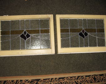 "TWO MATCHING ANTIQUE Leaded Stained Glass Windows From England Frames Measure 25 1/2"" x 17 1/2"" x 2"" The Glass Measures 22"" x 13 3/4"""