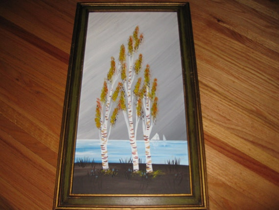 Painting Birch Trees Acrylic Painting In Hecho En Mexico Frame Etsy