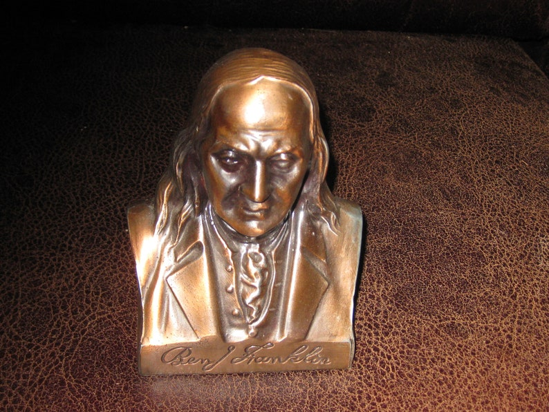 Spelter BEN FRANKLIN BUTLER Brothers Copper Bust Statue 5 12 x 4 x 2 14 Butler Brothers Became Ben Franklin Variety Stores