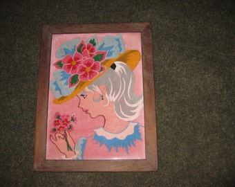"""PAINTING On PINK VELVET Young Girl In Large Bonnet Smelling Flowers In Antique Wood Frame 14"""" x 18"""" From The 50's-60's"""