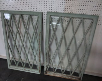 "Local Pick Up 1800s DIAMOND SHAPED WINDOWS From House In Rochester N Y Wood One Side Green Paint Other 27 3/4"" x 44 1/2"" Original Wavy Glass"
