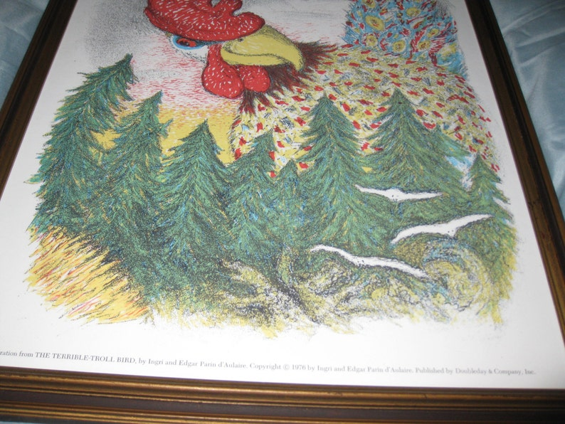THE TERRIBLE TROLL Bird 1976 Framed Illustration Antique Wood Frame 15 12 X 19 12 Illustration By Ingri /& Edgar Parin D/'Auliare