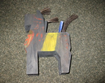 "FOLK ART HORSE Handmade Wooden Block Horse 8 1/2"" High 5 1/2"" Long 2 3/4"" Wide Black Horse Painted With Yellow Blue and Red"