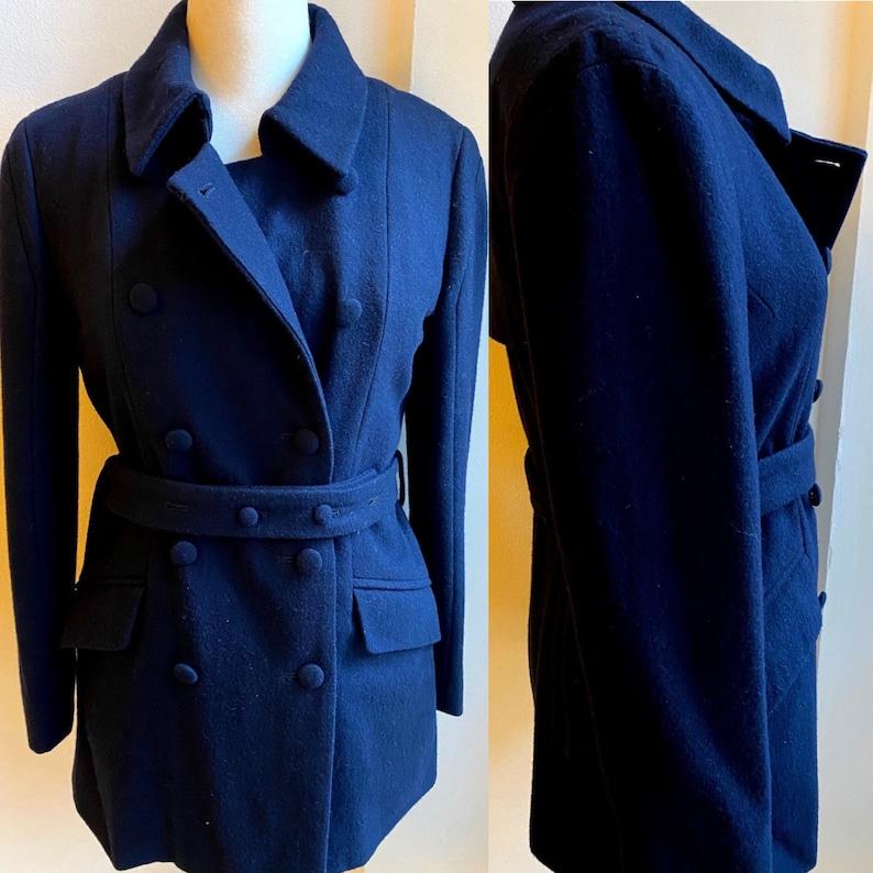 Cappotto Corto Vintage Blu Notte  Doppiopetto Anni 2000  Misto Lana  Mantella  Taglia 38