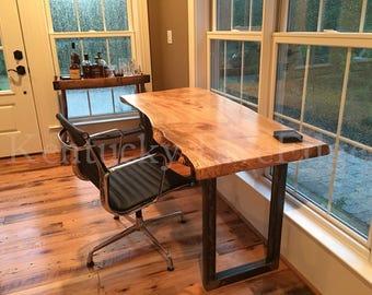 wood desks for office in your custom desk live edge industrial rustic wooden maple walnut cherry natural wood modern office edge desk etsy