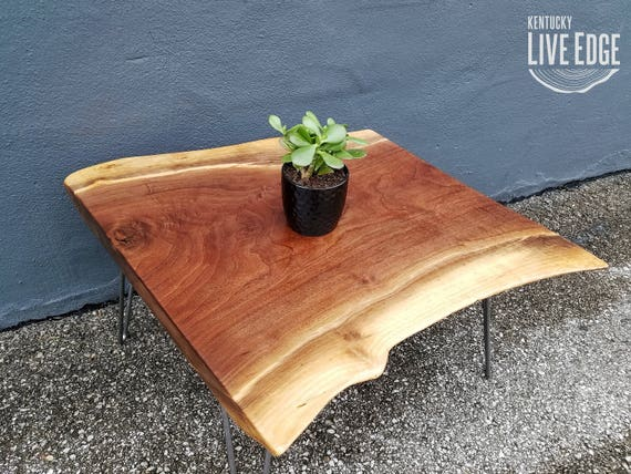 Natural Wooden Coffee Table Square Dark Wood Natural Edges Etsy